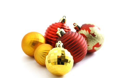Close up on Colorful Christmas Ornaments photo