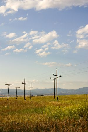 Field with Electric Poles in Helena Montana Stock Photo - 805705