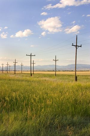 Field with Electric Poles in Helena Montana Stock Photo - 805706