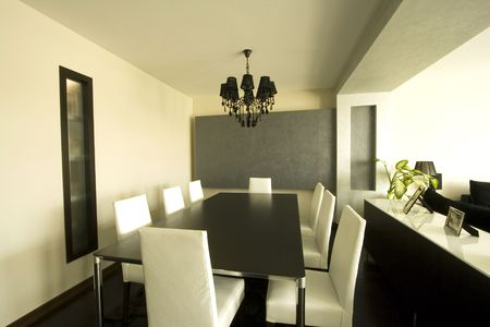 Trendy Modern Dining Room and Dinner Table photo