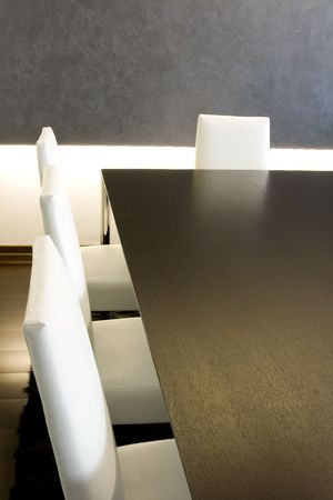 Close up on a Trendy Modern Dining Room and Dinner Table Stock Photo - 2136944