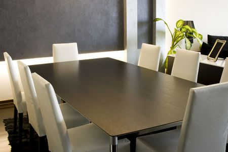 Trendy Modern Dining Room and Dinner Table Archivio Fotografico