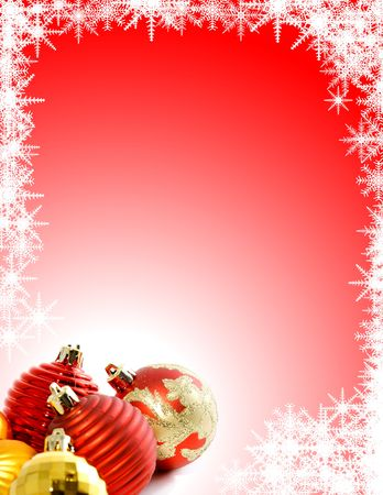 Christmas Background with Ornaments and Snowflakes Stock Photo