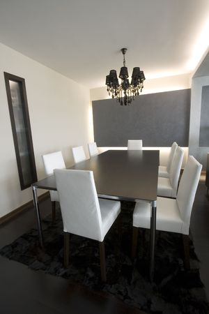Trendy Modern Dining Room and Dinner Table Imagens