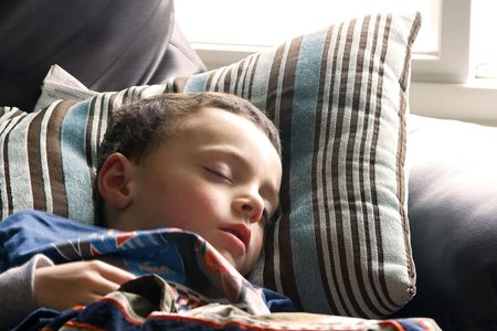 bed sheet: Little Boy Sleeping on the Couch