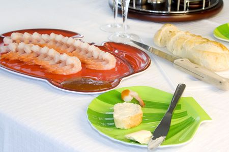 Close up on a Table with Shrimp Plate with Sliced Bread and Cocktail Set Stock Photo - 2813595
