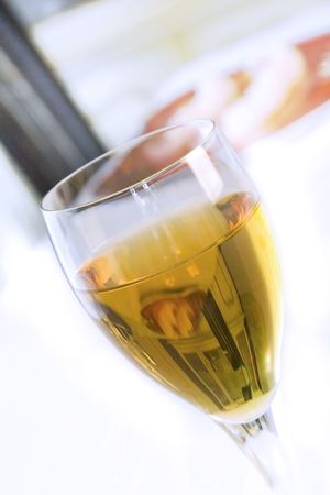 Angle Shot of a Wine Glass with Blurry Background Overblown Highlight