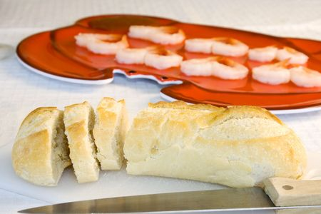 Close up on a sliced bread with blurred shrimps on the background Stock Photo - 2869465