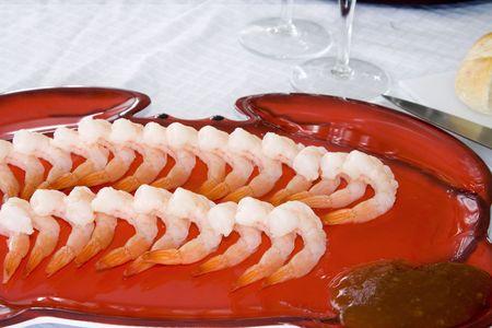 european cuisine: Close up - Shrimps on a Plate Stock Photo