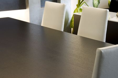 Close up on a Trendy Modern Dining Room and Dinner Table Stock Photo - 3268984