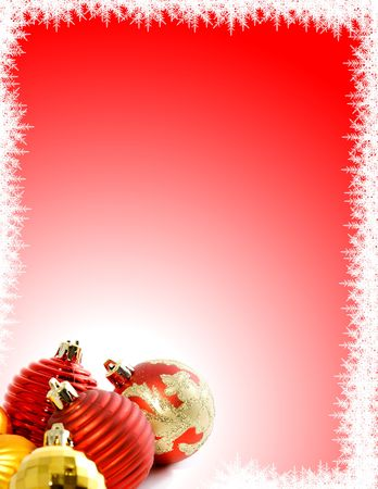 Christmas Background with Ornaments and Snowflakes Standard-Bild