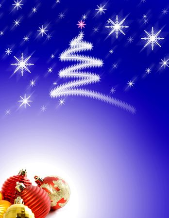 Christmas Background with Ornaments and Snowflakes Stock Photo - 3550689