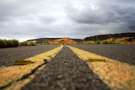 Road on the Snow Canyon in St. George, Utah photo