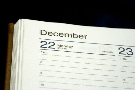 organiser: Close up on the date of Hanukkah in a planner