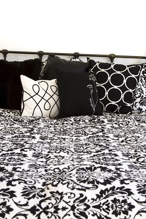 Pillows on a bed in the bedroom photo