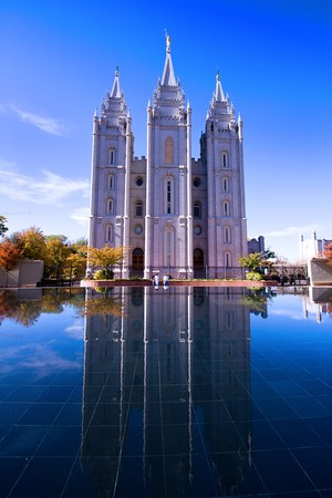 salt lake city: Salt Lake City, UT: October 30 Mormon Temple in Salt Lake City, Utah