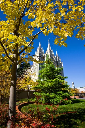 Mormon Temple Squae in Fall - Salt Lake City, Utah photo