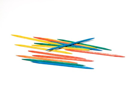toothpick: Isolated Colored Toothpick on White Background Stock Photo