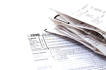 Preparing Taxes - Form 1040 for 2008 Standard-Bild