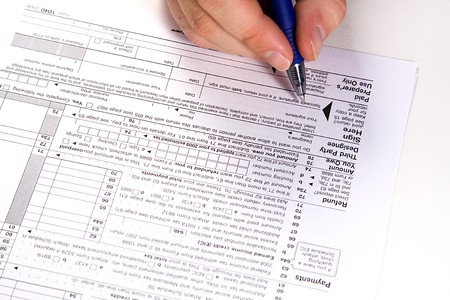 Preparing Taxes Form 1040 For 2008 Stock Photo Picture And