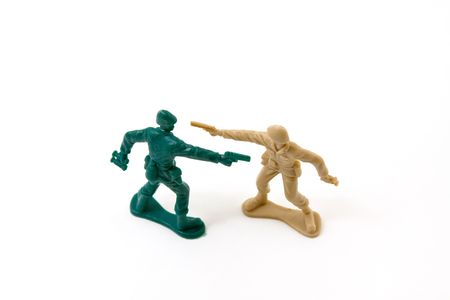 Isolated Plastic Toy Soldiers - Duel photo