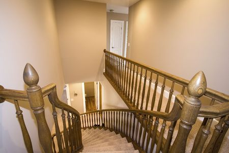 Looking down from a staircase in a house