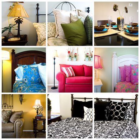 Collage of Home Interior - Bedrooms, Living and Dining Rooms Фото со стока - 5119311