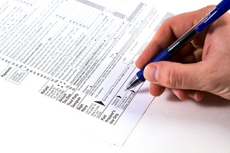 Preparing Taxes - Form 1040 for 2008 Stock Photo