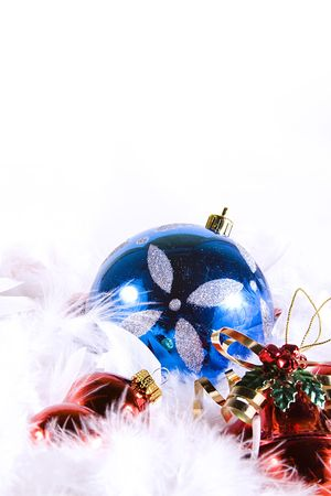 Isolated Christmas Background - Ornaments with white space Stock Photo - 5861017
