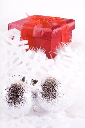 Boxes and Ornaments - Isolated Christmas Background photo