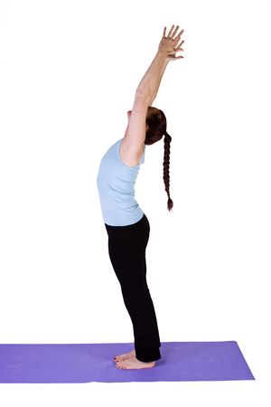 Woman doing Yoga on an Isolated Background Imagens