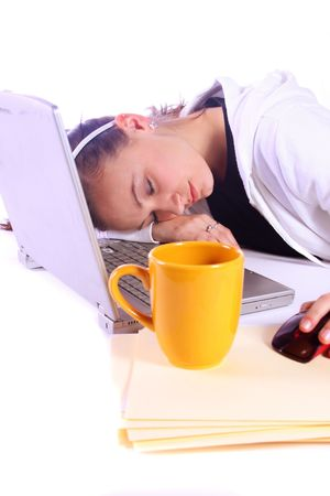 Teenager Drinking Coffee While Working on the Computer Fell Asleep Stock Photo - 6013482