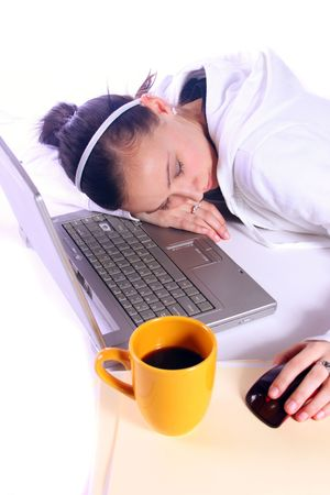 Teenager Drinking Coffee While Working on the Computer Fell Asleep Stock Photo - 6013426