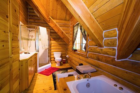 Close up on a Bathroom in a Log Cabin Stock Photo