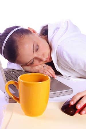 Teenager Drinking Coffee While Working on the Computer Fell Asleep Stock Photo - 6046135
