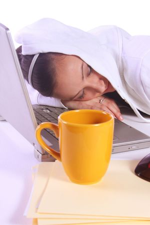 Teenager Drinking Coffee While Working on the Computer Fell Asleep Stock Photo - 6068831
