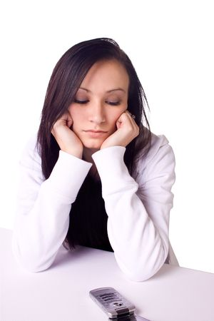 Beautiful Teenager Waiting for a Phone Call - Isolated