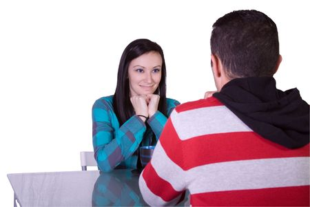 Isolated shot of a Couple on a Date - Girl Smiling Stock Photo - 6121496