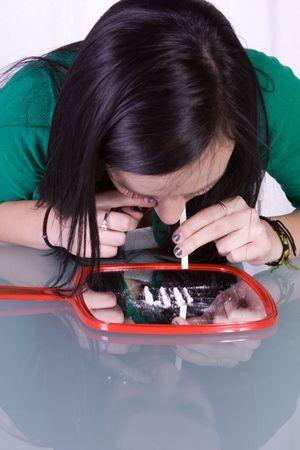 Teen Girl Taking Drugs - Teenage Drug Addiction Problem Cocaine Stock Photo - 6121537