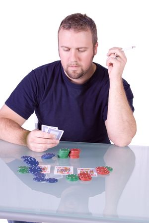 Man with an Empty Bottle playing Royal Flush in Texas Holdem Table