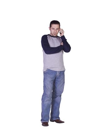 voicemail: Casual Man Checking his voicemail on this smartphone - Isolated Background