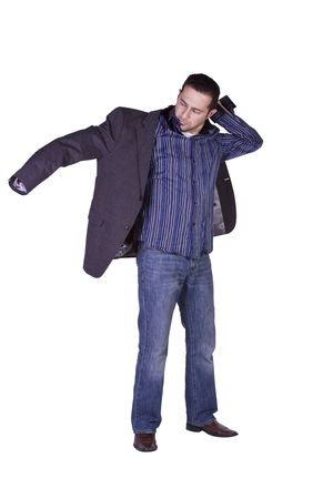 dressing up: Casual Man Putting His Jacket On Getting Ready - Isolated Background