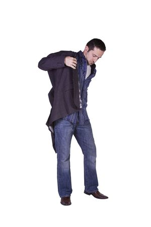 putting up: Casual Man Putting His Jacket On Getting Ready - Isolated Background