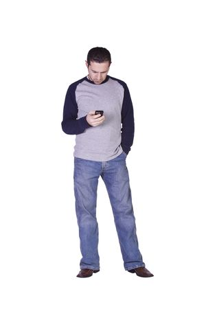 Casual Man Checking his email on this smartphone - Isolated Background Stock Photo