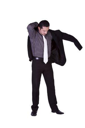 bata blanca: Empresario poniendo su chaqueta en Getting Ready - fondo aislado  Foto de archivo