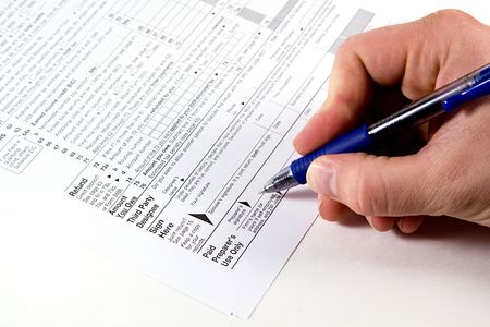 rendement: Voorbereiden belastingen - formulier 1040 2008 Stockfoto
