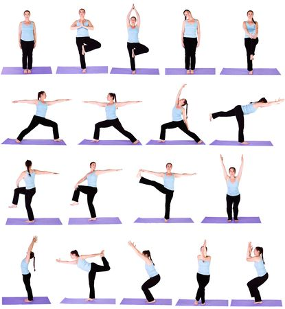 hatha: Woman in Multiple Yoga Positions - Collection