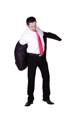 put up: Businessman Putting His Jacket On Getting Ready - Isolated Background