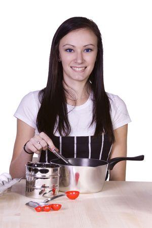 Beautiful Teenager Preparing Food - Isolated Background Stock Photo - 6501119