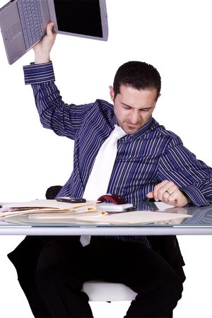 Frustrated Businessman Throwing His Laptop to the Table - Isolated Background Imagens